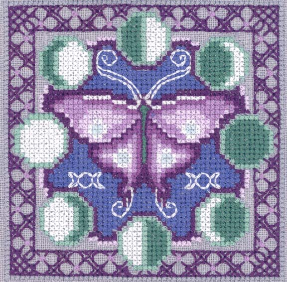 Machine embroidery cross stitch makaroka